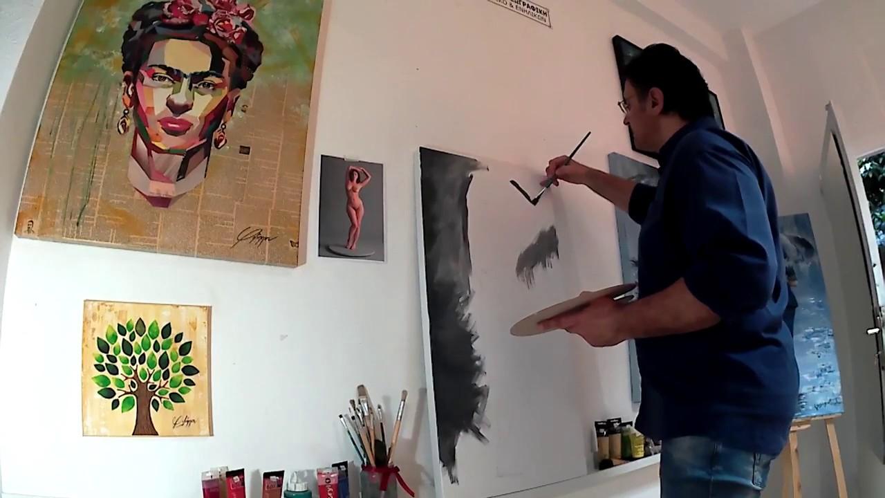 """""""Γυμνό"""", ζωγραφική με ακρυλικά χρώματα σε καμβά 50Χ100, Atelier Arts"""