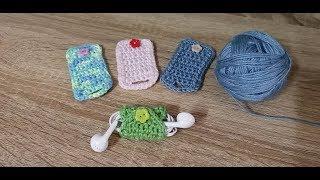 DIY ถักที่เก็บสายหูฟัง แบบง่ายๆ   How to crochet Earphones cord holder