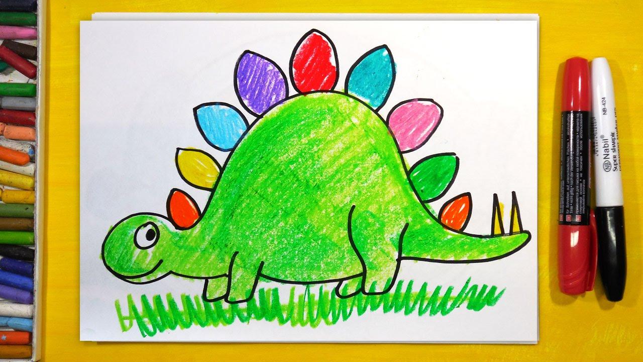 Рыба кит папа рисует динозавра