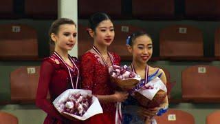 Церемония награждения. Девушки. Riga Cup. Гран-при по фигурному катанию среди юниоров 2019/20