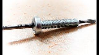 Как сделать сквозное отверстие в центре винта\How to make a through hole in the center of the screw