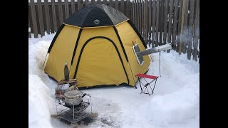 Overnight Winter Camping - H๐t Tent - Wood Stove / Cooking Irish Stew