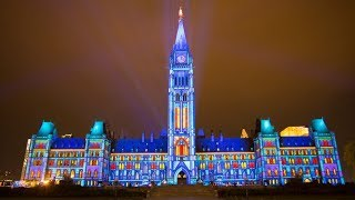NORTHERN LIGHTS: SOUND AND LIGHT SHOW ON PARLIAMENT HILL OTTAWA, CANADA 2017