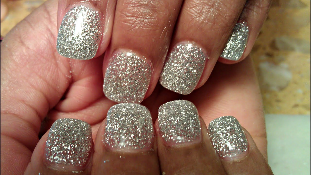 How to silver glitter color acrylic nails tutorials youtube prinsesfo Images