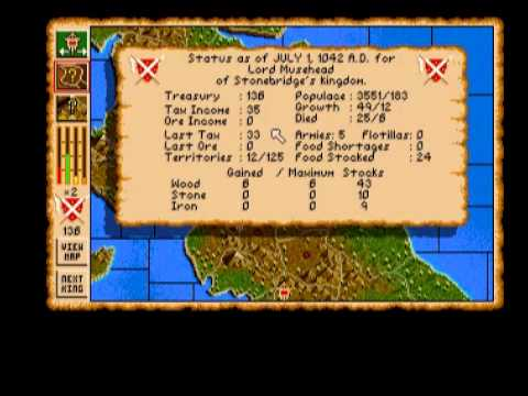Vikings: Fields of Conquest - Kingdoms of England II (Amiga) - Gameplay