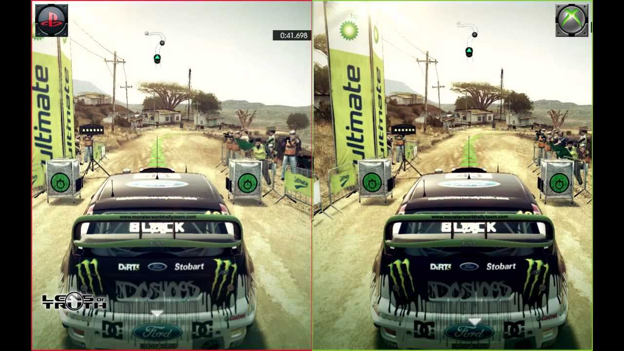lens of truth dirt 3 side by side comparison ps3 vs xbox. Black Bedroom Furniture Sets. Home Design Ideas