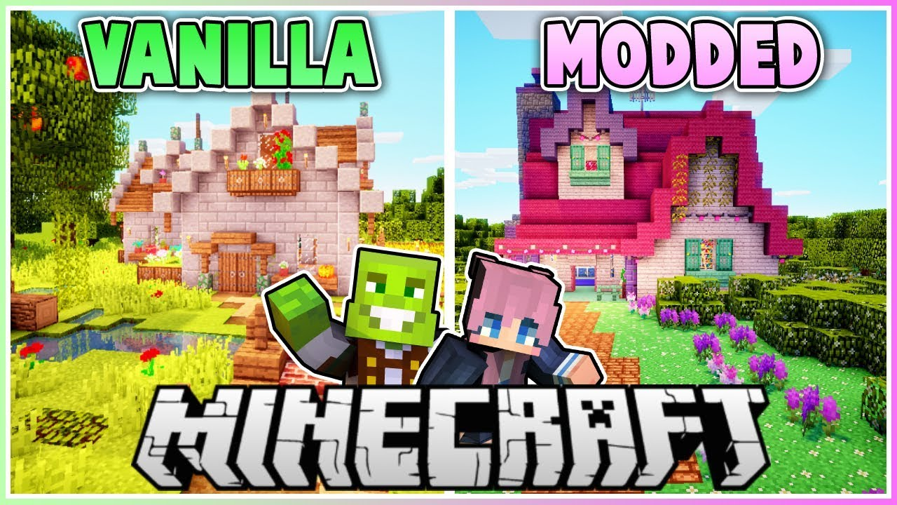 Vanilla vs Modded Minecraft House Makeover (PART 2) with
