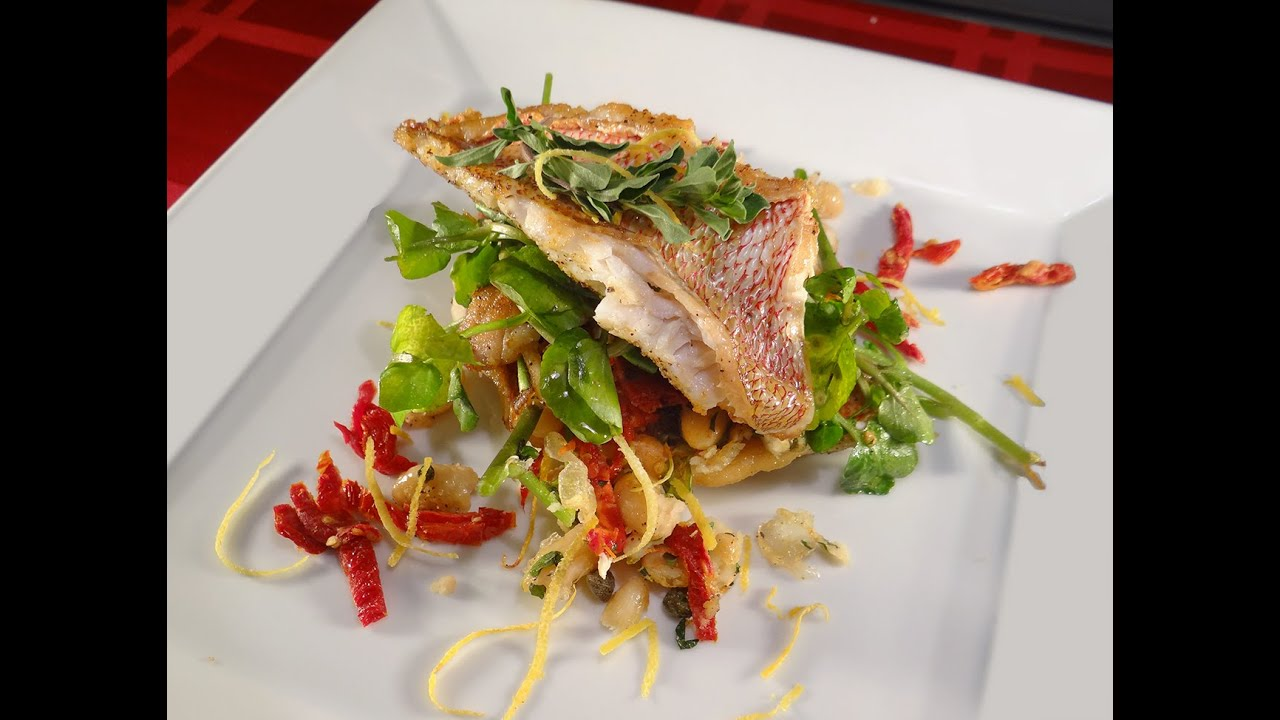 Pan Seared Red Snapper With A Tuscan White Bean And Watercress Saute Youtube