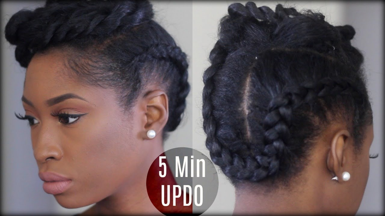 5 minute twist braided updo natural