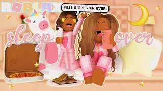 Big Sister & Little Sister SLEEPOVER! *ROUTINE* Roblox Bloxburg Roleplay