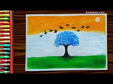 Independence Day 2020 Oil Pastel Drawing - Step by step very easy Tutorial for beginners