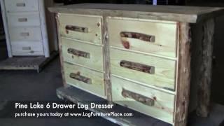 Pine Lake 6 Drawer Log Dresser   Rustic Pine Cabin Furniture At Jhe's