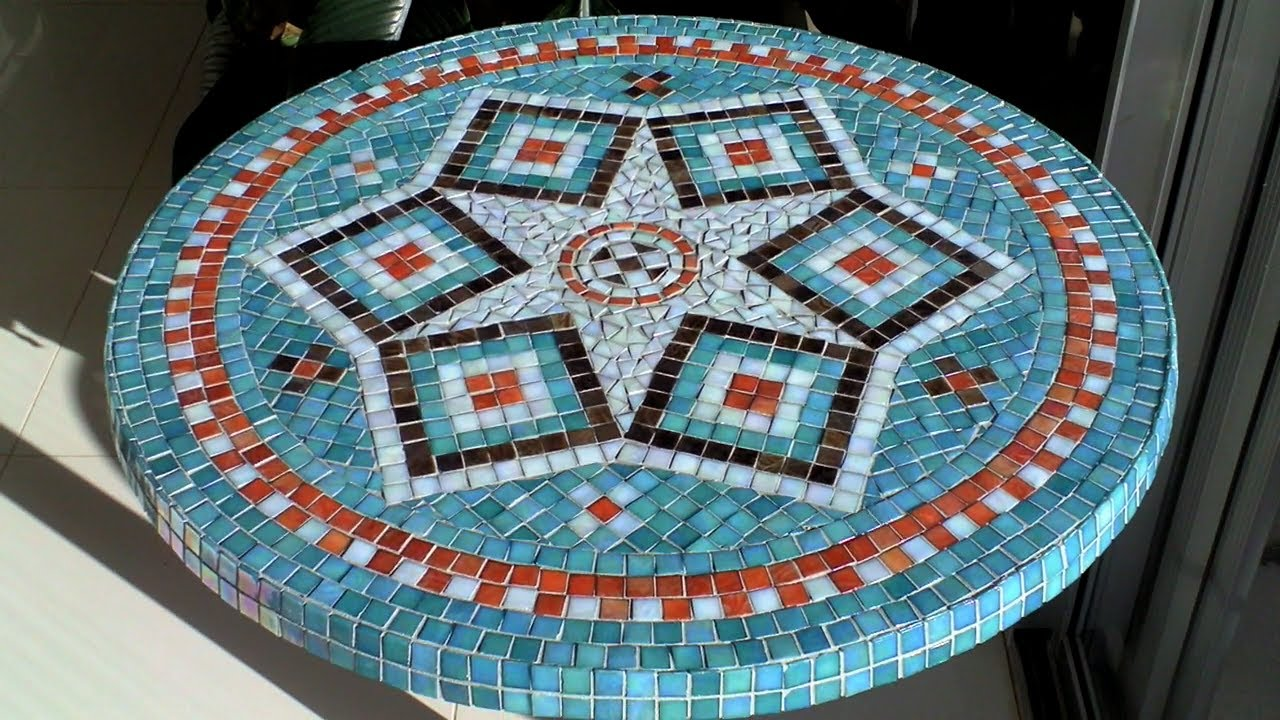 Diy Mosaic Garden Table Design Glue