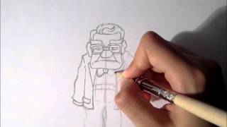 Sketching Carl from UP with ink