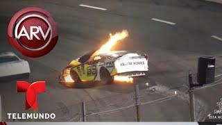 Salvó a su hijo atrapado en auto de carreras en llamas | Al Rojo Vivo | Telemundo