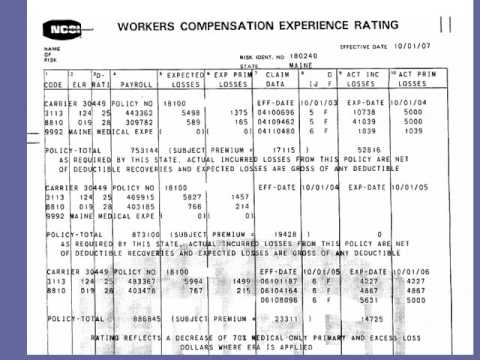 Workers Compensation Insurance Experience Mod Worksheet