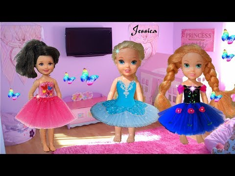 Anna and Elsa Jessica School Sleepover! Ballet Series - Toddlers - Pizza Barbie Toys & Dolls