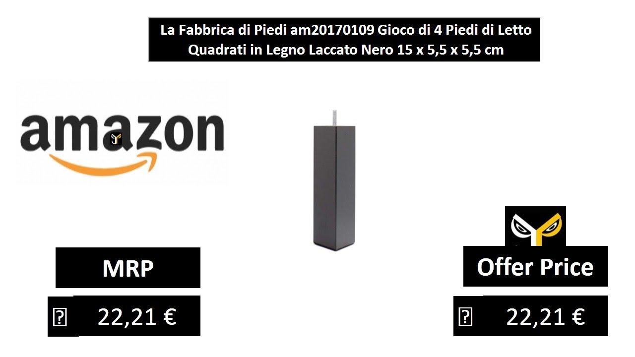 La Fabbrica di Piedi am20170109/Gioco di 4/Piedi di Letto Quadrati in Legno Laccato Nero 15/x 5,5/x 5,5/cm