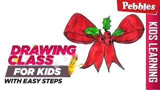 How to draw Christmas Ribbon | Easy Step by step drawing | Christmas special Drawing for kids