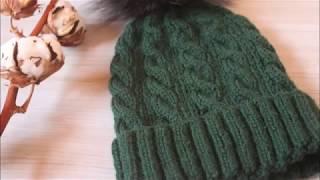 Вязаная шапка спицами с отворотом/МК шапка для мальчика