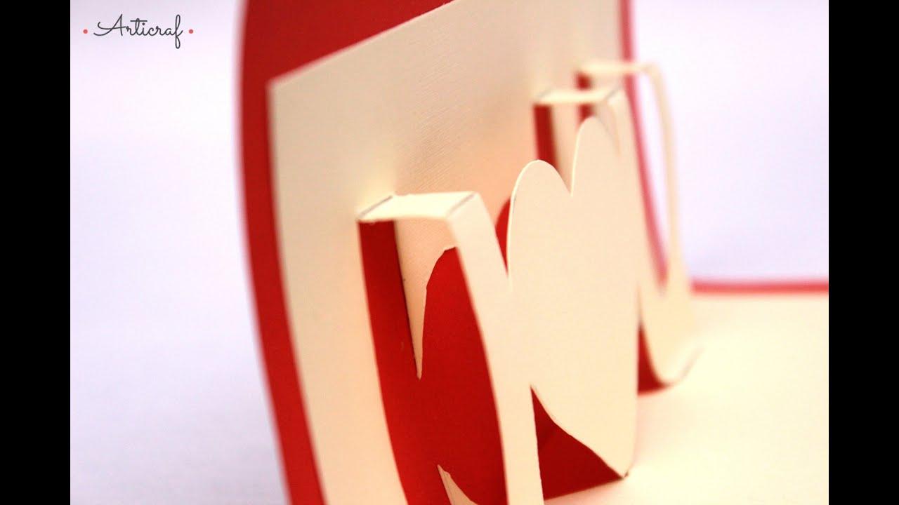 Como Hacer una Carta / Tarjeta Pop Up I love You Para Mi Novio ...