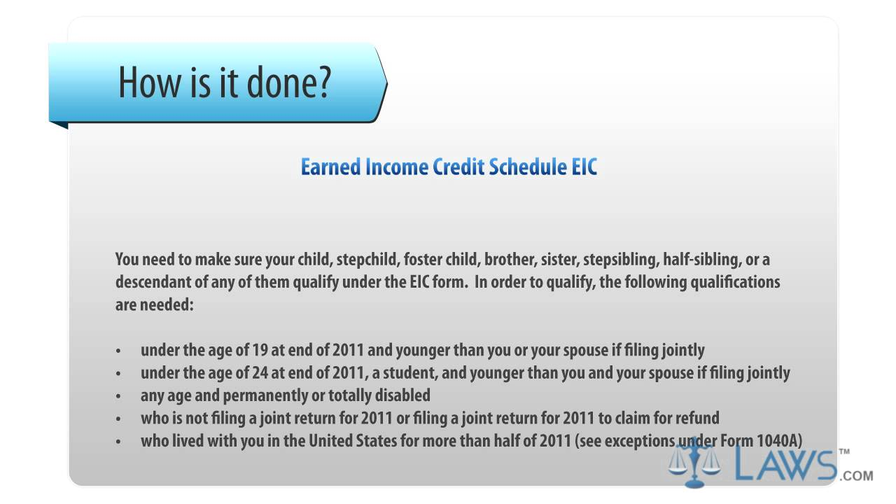 worksheet Schedule Eic Worksheet earned income credit schedule eic youtube