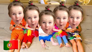 Cinco Crianças finge brincar com máscaras de bebês | Histórias divertidos para crianças