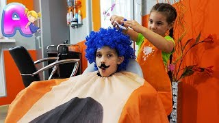 Anna vs Victor in the kids hair salon! New hairstyles for children by Anna Kids
