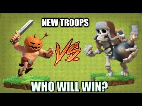 NEW TROOPS 240 Pumpkin Barbarians VS 12 Giant skeletons ! Clash of clans