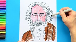 How to draw and color Gurudev Rabindra Nath Tagore