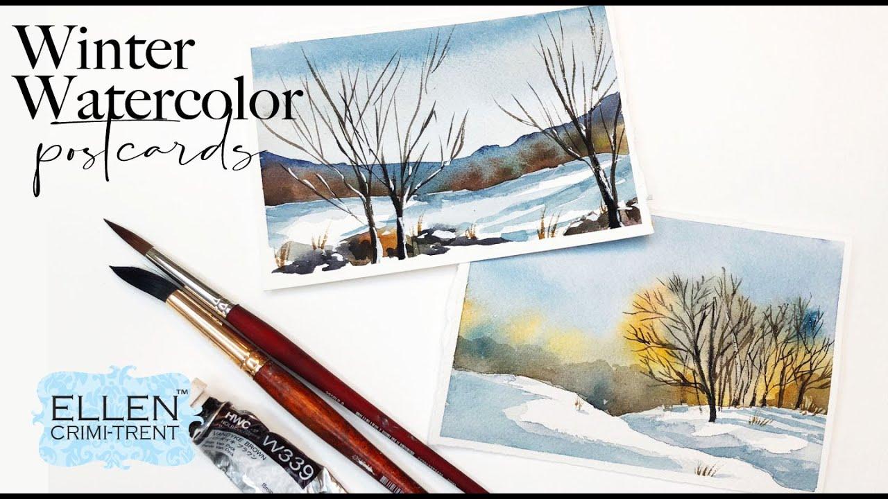 Winter Watercolor Postcards tutorial
