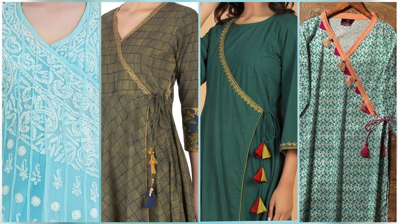 Super stylish modern style long Angrakha Kurti Designs