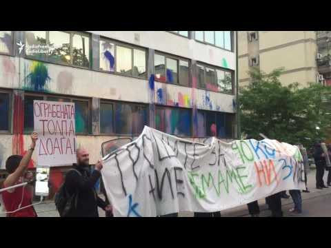 Anti-Government Protesters Splashed Paint on Public Revenue Office in Skopje
