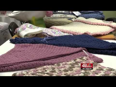 Crochet club making shawls for cancer patients