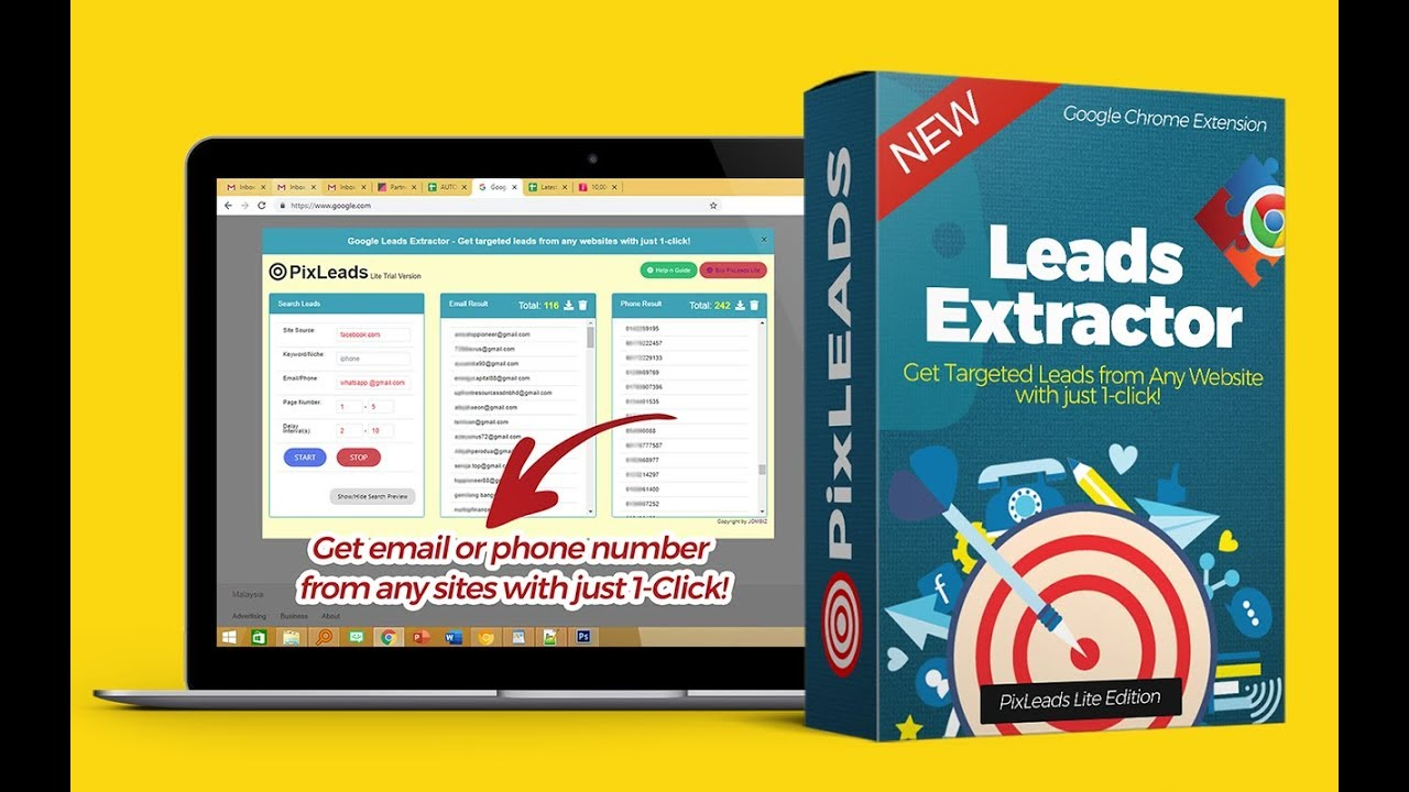 PixLEADS Google Extractor - Get Emails or Phone Numbers from any