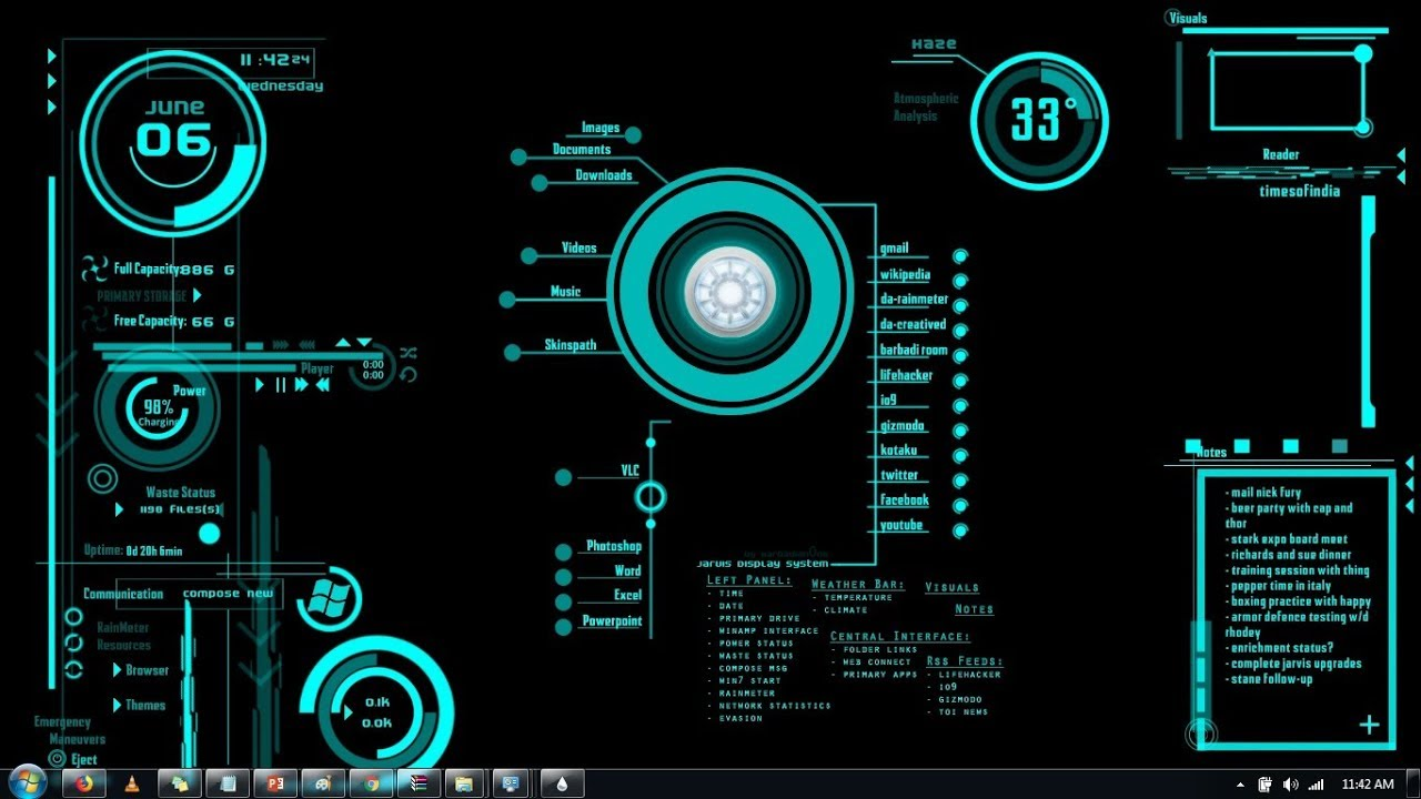 How to install Jarvis ( Iron Man AI Interface ) theme on Windows 7 on  Rainmeter