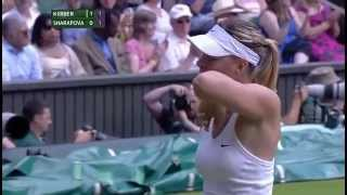 Sharapova and Kerber fight out huge point - Wimbledon 2014