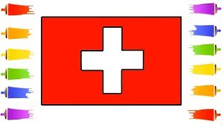 How to Draw Switzerland flag || Color Swiss Flag || The National Flag of Switzerland || Swiss Flag