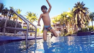 Flips, Jumps and Water Fun War Play - Family on the Pool