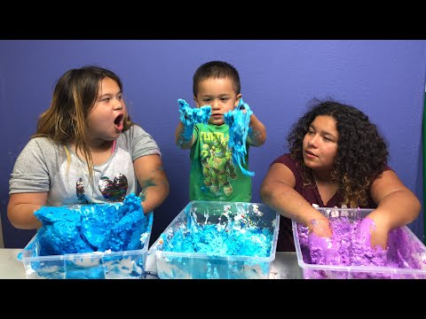 MAKING BIRTHDAY SLIME WITH OUR BABY BROTHER - DIY 3 GALLONS OF BIRTHDAY SLIME