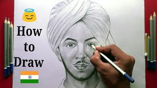 How to draw Bhagat Singh Step by step for Beginners !