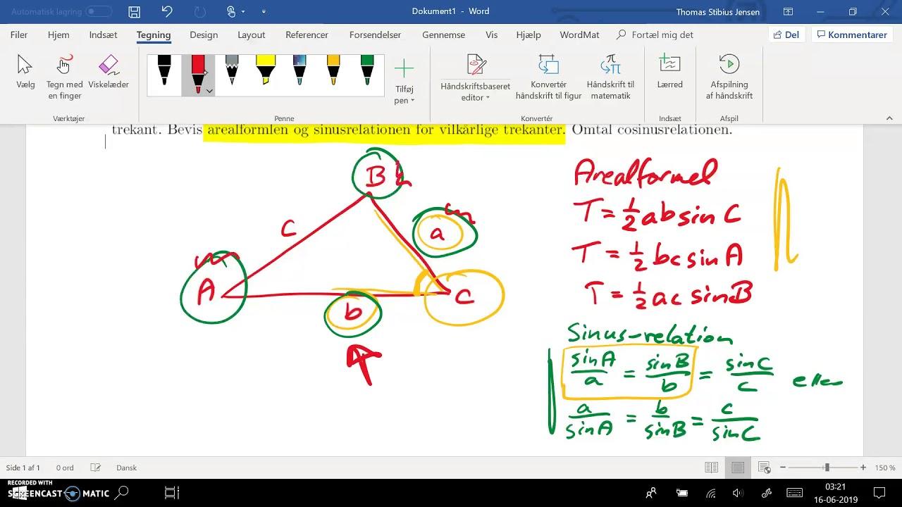 2ev spg 3 - 1cd spg 7 - del 5: arealformel og sinusrelation - hvornår anvendes de
