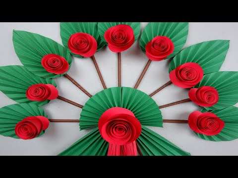 How to Make DIY Paper Leaf and Flower in Fan Design for Wall Hanging Decoration