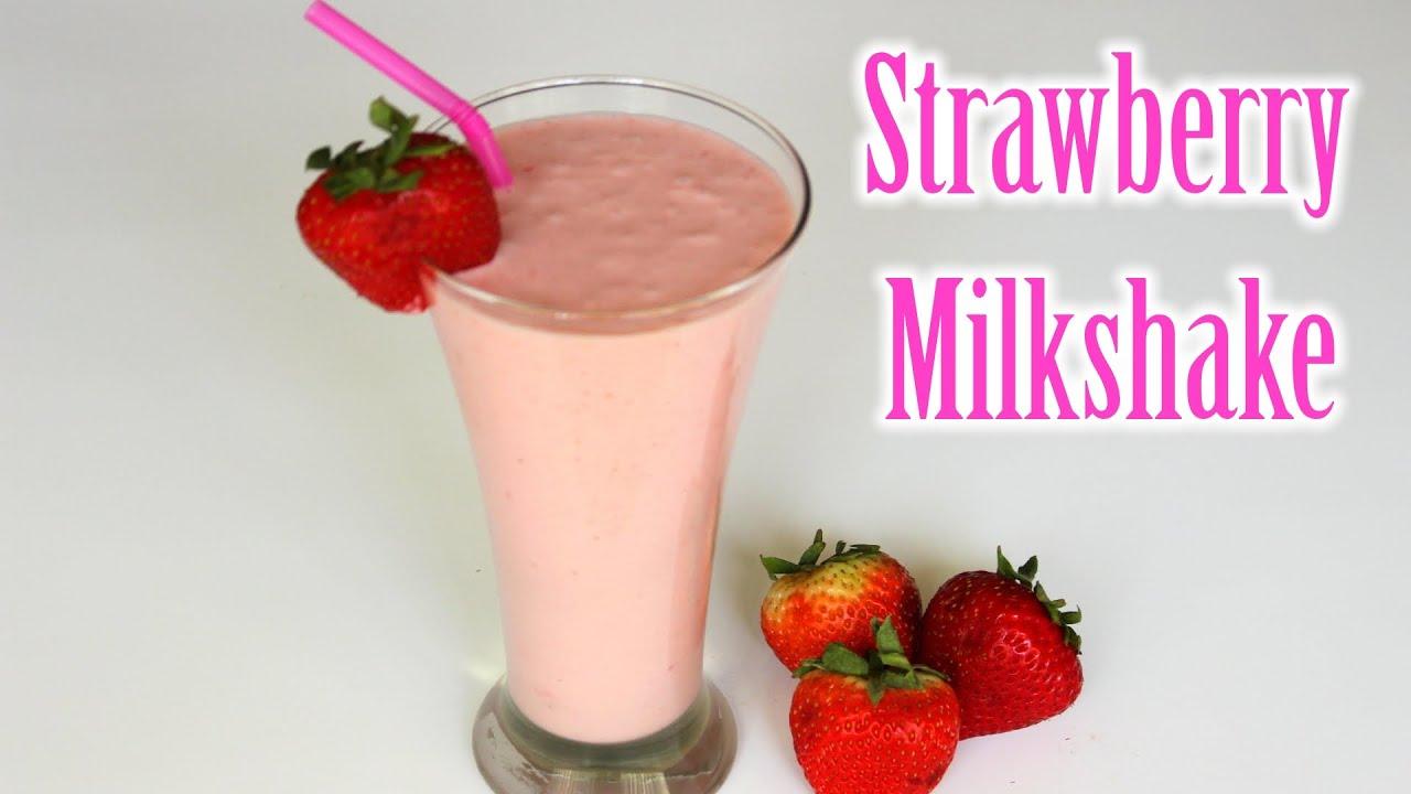 Strawberry Milkshake Recipe  Easy Strawberry Shake Recipe  How to Make  Strawberry Milkshake