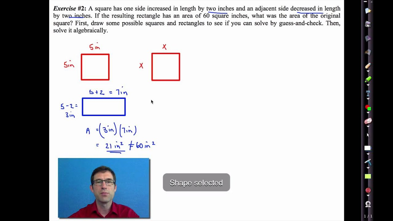 Common Core Algebra I Unit #8 Lesson #8 Quadratic Word Problems