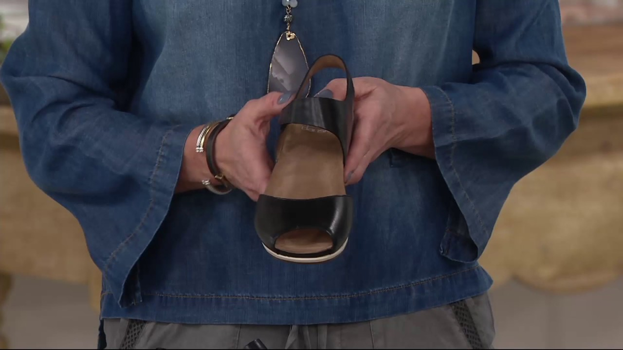 dc9b5972e15695 Dansko Leather Peep-toe Sandals - Vera on QVC - YouTube