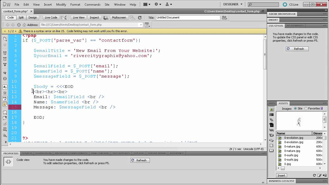 PHP Tutorial: Create an HTML Contact Form Part 2 -HD- - YouTube