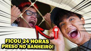 TRANQUEI MEU IRMÃO MAIS NOVO NO BANHEIRO POR 24 HORAS! ( TROLLAGEM )