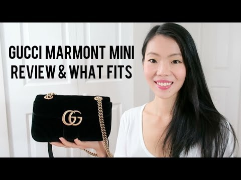 GUCCI MARMONT MATELASSÉ VELVET MINI BAG REVIEW & WHAT'S IN MY BAG | FashionablyAMY