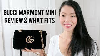 GUCCI MARMONT VELVET MINI FLAP REVIEW & WHAT'S IN MY BAG | FashionablyAMY